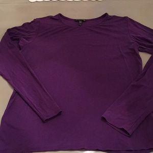EILEEN FISHER Silk Long Sleeve Tee Shirt Purple S